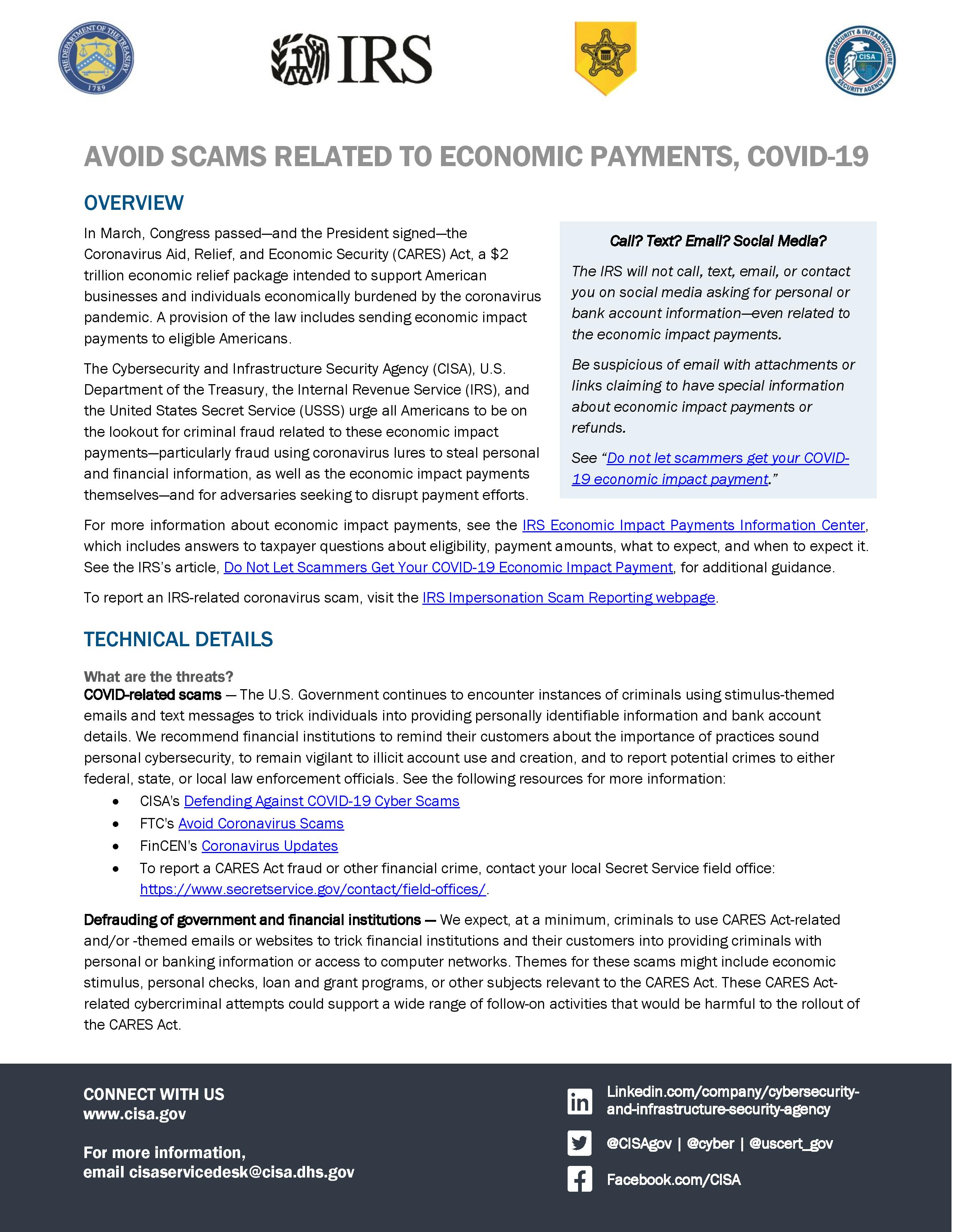 Avoid Scams Related to Economic Payments COVID 19 page 001